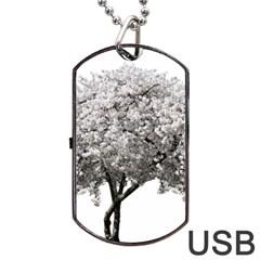 Nature Tree Blossom Bloom Cherry Dog Tag Usb Flash (one Side)