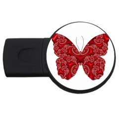 Butterfly Red Fractal Art Nature Usb Flash Drive Round (4 Gb)