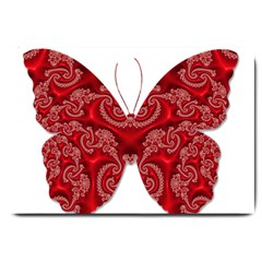 Butterfly Red Fractal Art Nature Large Doormat