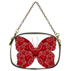 Butterfly Red Fractal Art Nature Chain Purses (two Sides)