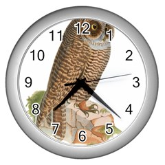 Bird Owl Animal Vintage Isolated Wall Clocks (silver)  by Sapixe