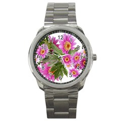 Daisies Flowers Arrangement Summer Sport Metal Watch by Sapixe