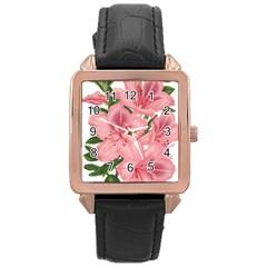 Flower Plant Blossom Bloom Vintage Rose Gold Leather Watch