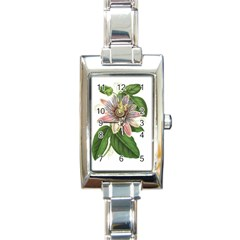 Passion Flower Flower Plant Blossom Rectangle Italian Charm Watch by Sapixe