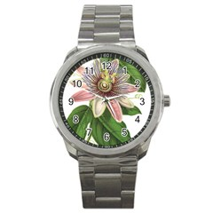 Passion Flower Flower Plant Blossom Sport Metal Watch by Sapixe