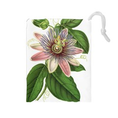Passion Flower Flower Plant Blossom Drawstring Pouches (large)  by Sapixe