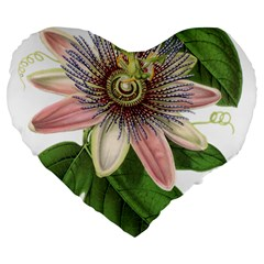 Passion Flower Flower Plant Blossom Large 19  Premium Flano Heart Shape Cushions by Sapixe