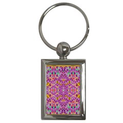Fantasy Flower Festoon Garland Of Calm Key Chains (rectangle)  by pepitasart