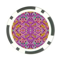 Fantasy Flower Festoon Garland Of Calm Poker Chip Card Guard by pepitasart