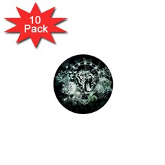 Awesome Tiger In Green And Black 1  Mini Buttons (10 Pack)  by FantasyWorld7