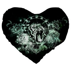 Awesome Tiger In Green And Black Large 19  Premium Heart Shape Cushions