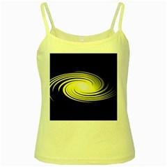 Fractal Swirl Yellow Black Whirl Yellow Spaghetti Tank