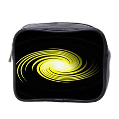Fractal Swirl Yellow Black Whirl Mini Toiletries Bag 2 Side