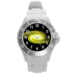 Fractal Swirl Yellow Black Whirl Round Plastic Sport Watch (l) by Sapixe