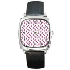 Cacao Fruits Pattern Square Metal Watch