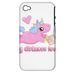 Long Distance Lover   Cute Unicorn Apple Iphone 4/4s Hardshell Case (pc+silicone) by Valentinaart