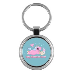 Long Distance Lover   Cute Unicorn Key Chains (round)  by Valentinaart