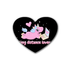 Long Distance Lover   Cute Unicorn Rubber Coaster (heart)  by Valentinaart