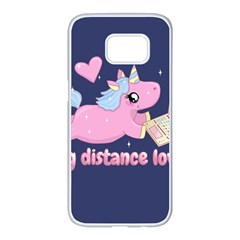 Long Distance Lover   Cute Unicorn Samsung Galaxy S7 Edge White Seamless Case by Valentinaart