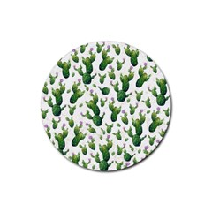 Cactus Pattern Rubber Round Coaster (4 Pack)