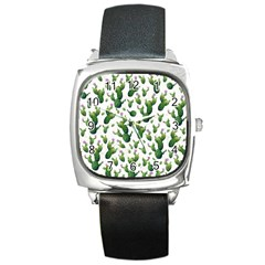 Cactus Pattern Square Metal Watch