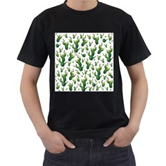 Cactus Pattern Men s T Shirt (black) (two Sided)