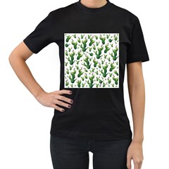 Cactus Pattern Women s T Shirt (black) (two Sided)