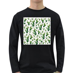 Cactus Pattern Long Sleeve Dark T Shirts