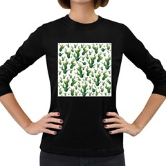 Cactus Pattern Women s Long Sleeve Dark T Shirts