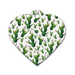 Cactus Pattern Dog Tag Heart (two Sides)