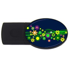 Flower Power Flowers Ornament Usb Flash Drive Oval (2 Gb) by Sapixe