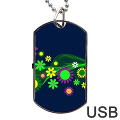 Flower Power Flowers Ornament Dog Tag Usb Flash (two Sides) by Sapixe