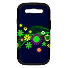 Flower Power Flowers Ornament Samsung Galaxy S Iii Hardshell Case (pc+silicone) by Sapixe