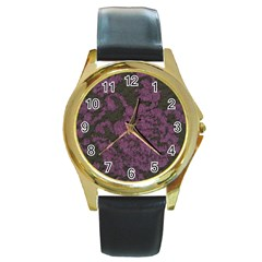 Purple Black Red Fabric Textile Round Gold Metal Watch by Sapixe