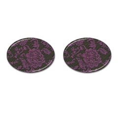 Purple Black Red Fabric Textile Cufflinks (oval) by Sapixe