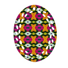 Artwork By Patrick Colorful 2 3 Oval Filigree Ornament (two Sides)