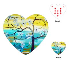 Oil Painting Tree Flower Playing Cards (heart)