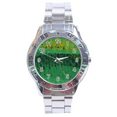 Green Fabric Textile Macro Detail Stainless Steel Analogue Watch by Sapixe