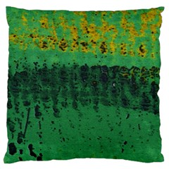 Green Fabric Textile Macro Detail Large Flano Cushion Case (two Sides) by Sapixe