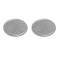 White Fabric Pattern Textile Cufflinks (oval) by Sapixe