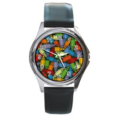 Colored Pencils Pens Paint Color Round Metal Watch by Sapixe