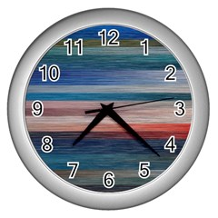 Background Horizontal Lines Wall Clocks (silver)  by Sapixe