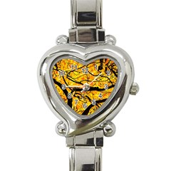 Golden Vein Heart Italian Charm Watch by FunnyCow