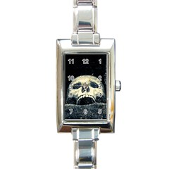 Smiling Skull Rectangle Italian Charm Watch by FunnyCow