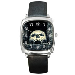 Smiling Skull Square Metal Watch by FunnyCow