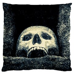 Smiling Skull Large Flano Cushion Case (two Sides) by FunnyCow