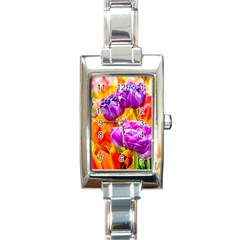 Tulip Flowers Rectangle Italian Charm Watch by FunnyCow