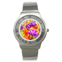 Tulip Flowers Stainless Steel Watch by FunnyCow