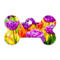 Tulip Flowers Dog Tag Bone (two Sides) by FunnyCow