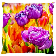 Tulip Flowers Large Cushion Case (two Sides) by FunnyCow